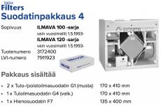 Alkuperäinen Vallox ILMAVA 100/120 (1990 eteenpäin) suodatinpakkaus nro 4