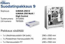 Alkuperäinen Vallox ILMAVA 250 D /250 MULTI CONTROL/ 250 DIGIT CONTROL suodatinpakkaus nro 9