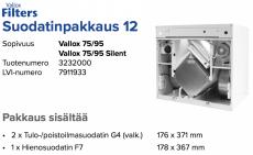 Alkuperäinen Vallox 75/95 (Silent) suodatinpakkaus nro 12