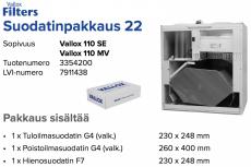 Alkuperäinen Vallox 110 SE / 110 MV suodatinpakkaus nro 22