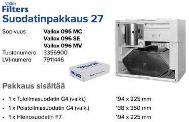 Alkuperäinen Vallox 096 MC/SE/MV suodatinpakkaus nro 27