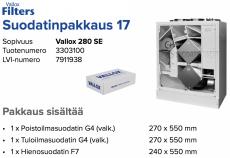 Alkuperäinen Vallox 280 SE suodatinpakkaus nro 17